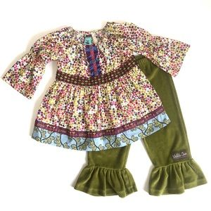"Matilda Jane ""Grow"" tunic with green velvet pants"
